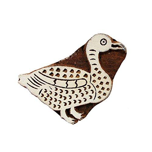 Swan Handcarved Wooden Printing Block Motif Textile Print Stamp Scrapbook Clay Pottery Craft Art (Swan Motif)