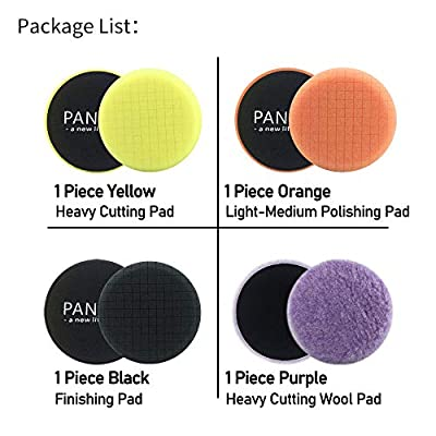 PANLIW 4Pcs 3 inch Buffing Pads 3inch Wool Polishing Pads Car Polishing Pads Disc Kit Grid Foam Buffing Pads for Drill Car Polisher auto Detail Wax Buffer pad Sponge Finishing Pads (3 inch): Automotive