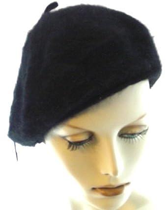 ada80135c630af Angora Beret by Lemon (Black) at Amazon Women's Clothing store: