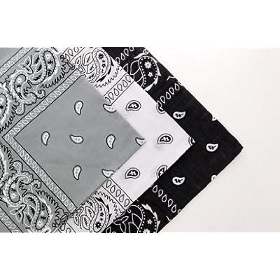 Lot de 3 Coton Cachemire Kaki Bandanas foncé Gris & Blanc