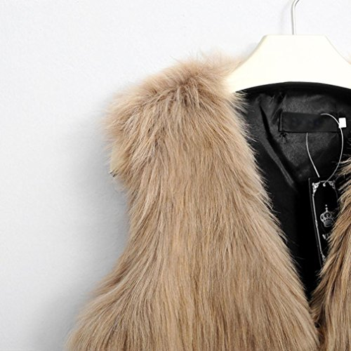 Khaki Faux Coat Winter V HOMEBABY Jacket Vest Outwear Waistcoat fur Collar Sleeveless Women's qZw76xFw