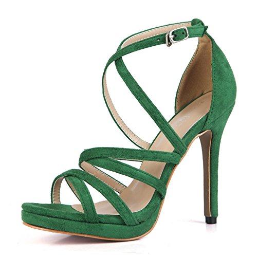 Best 4U® Sandalias de verano para mujer elásticas de terciopelo cruzadas correas cómodas bombas básicas 12CM tacones altos de una hebilla peep toe 1CM plataforma de goma suela zapatos de color sólido