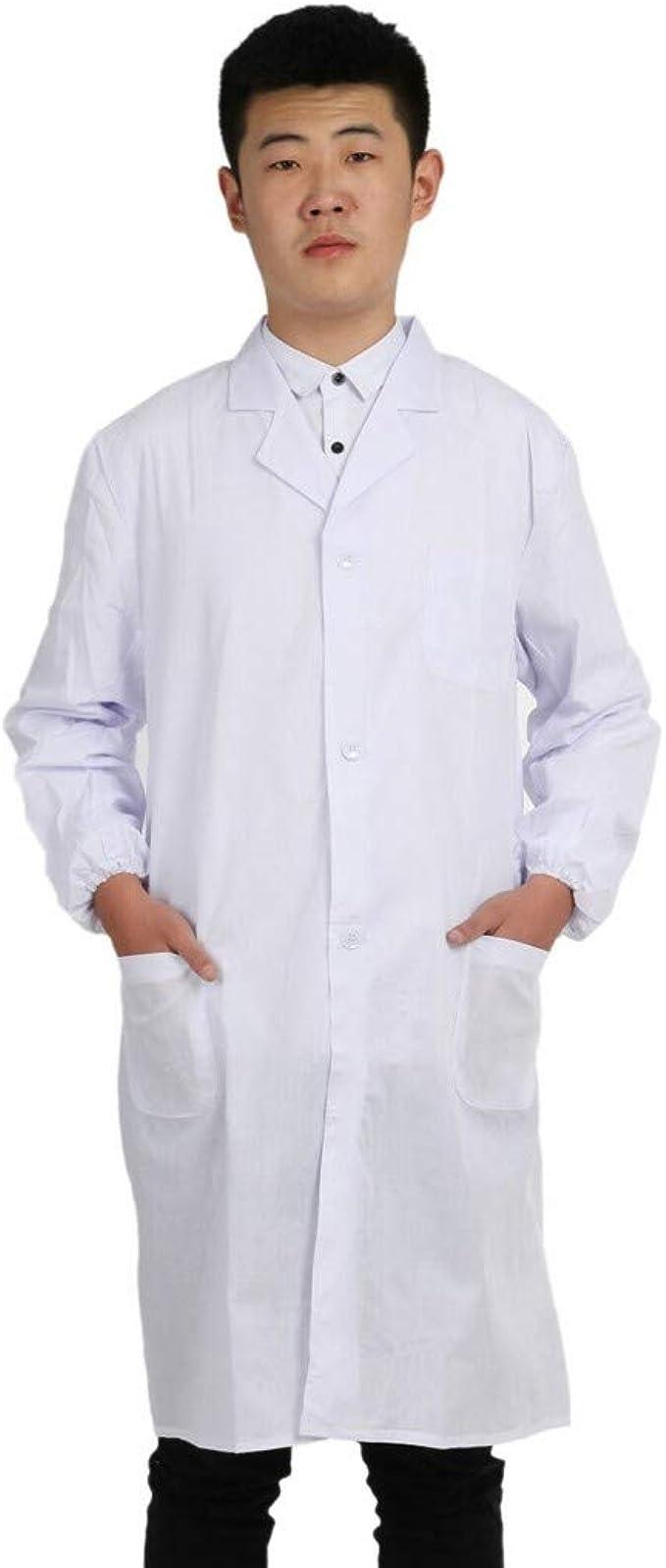 Luckycat Unisex Bata de Laboratorio Blanco Hombre y Mujer, Algodón ...