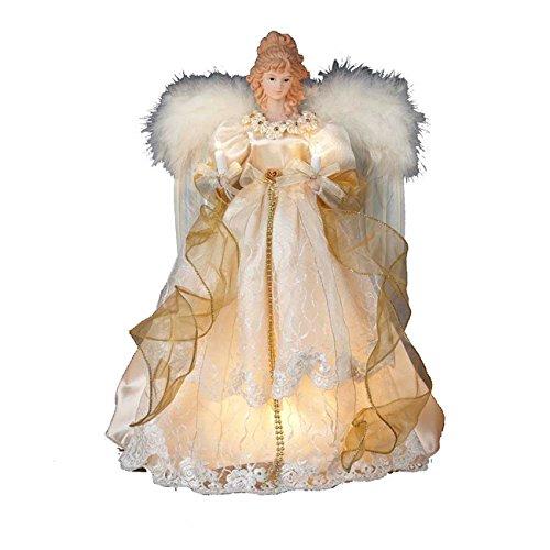 Kurt Adler 16.5-inch 10-light Ivory and Gold Angel Treetop