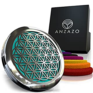 """Anzazo Car Essential Oil Diffuser - 1.5"""" Magnetic Locket Set with Air Vent Clip - Best for Aromatherapy - Fragrance Air Freshener, Scents Diffusers - Sacred Geometry Jewelry for Car, Flower of Life"""