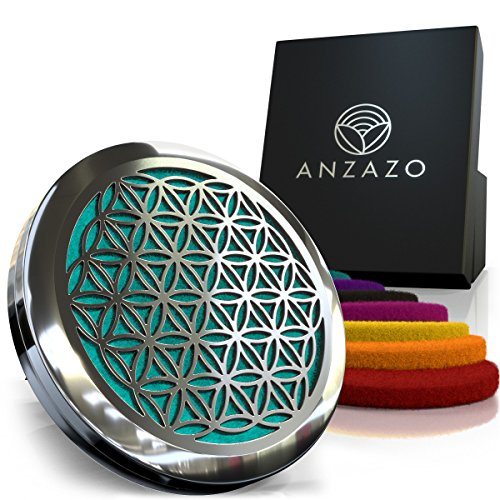 Anzazo Car Essential Oil Diffuser - 1.5 Magnetic Locket Set with Air Vent Clip - Best for Aromatherapy - Fragrance Air Freshener, Scents Diffusers - Sacred Geometry Jewelry for Car, Flower of Life