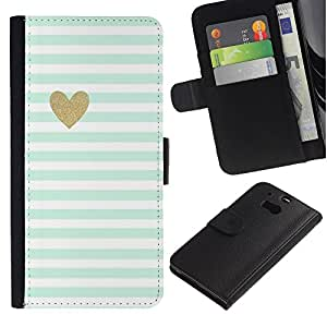 UberTech / HTC One M8 / Gold Blue White Baby Stripes Pattern Heart / Cuero PU Delgado caso Billetera cubierta Shell Armor Funda Case Cover Wallet Credit Card