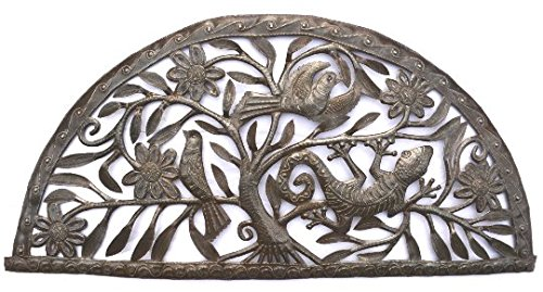 "Metal Garden Sculptures,Nature Inspired Gecko's, Handmade in Haiti 34.25"" X 16.25"""