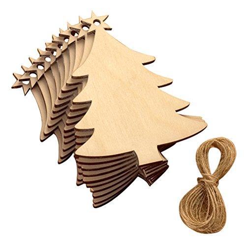 EBTOYS Christmas Tree Ornaments Christmas Wooden Hanging Plaque Christmas Tree Hanging Sign Hanger Decoration,10 Pack - Door Hanger Scrapbooking