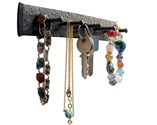Key Holders for The Wall, Handmade Decorative Wall Mounted Wrought Iron 5 Hooks Key Holders Organizer, Key Hook, Key Hanger and Jewelry Rack, Suit Any Room (Black) ()