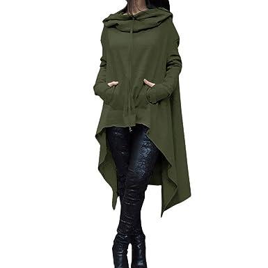 a3ceb1ab868 VESNIBA Women Loose Hoodie Long Hooded Tops Ladies Sweatshirt Sweater  Asymmetric Blouse