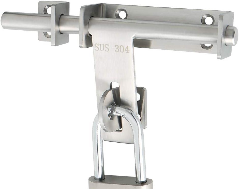 Sayayo cerradura de puerta sólido deslizante perno pestillo puerta pestillo (no incluye candado), SUS 304 acero inoxidable acabado cepillado, EMCX9800