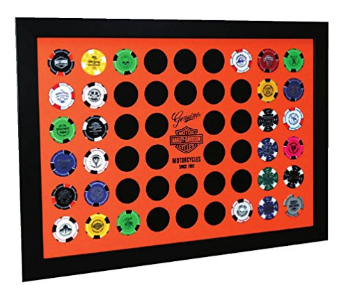 Harley-Davidson Orange Poker Chip Collector's Frame, Holds 52 Poker Chips 6952 by Harley-Davidson