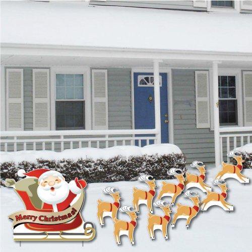 Merry Christmas! Santa and 9 Reindeer - Christmas Lawn Display/Yard Card Set - 10 pcs total