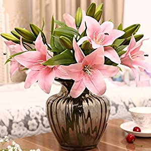 WskLinft 3 Heads Artificial Fake Lily Flowers Bouquet Home Garden Party Wedding Decors - Rose Red 97