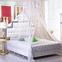 """PePeng White Extra Large Hanging Mosquito Net for Beds up to 70.86"""", Canopy Netting Curtain Dome to Keep Fly Midges Insect Out for Home, Travel or Garden (White)"""