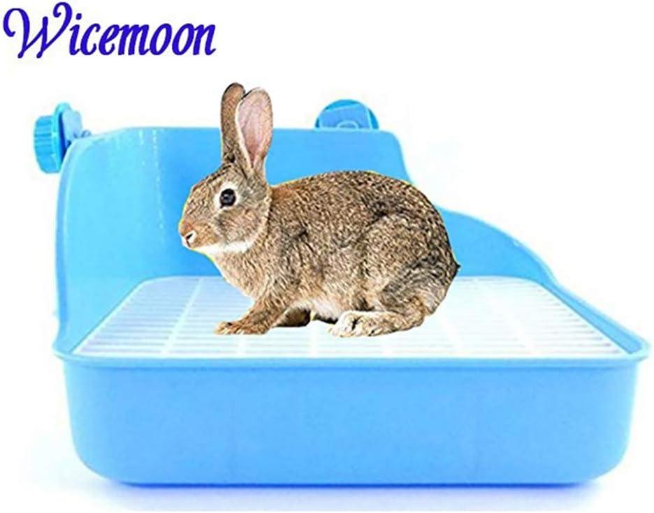 Wicemoon Aseo Limpio para Conejos con Doble Rejilla para Limpieza Azul 28 * 22 * 15 CM