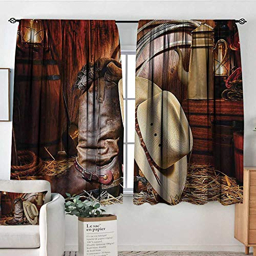 Mozenou Western Room Darkening Curtains Authentic American West Rodeo Elements with Antique Supplies Retro Artwork Photo Kid Blackout Curtains 55