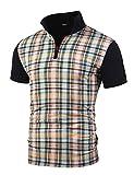 COOFANDY Men's Short Sleeve Plaid Zipper Shirts Collar Jersey Polo Shirt