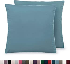 The Connecticut Home Company Luxurious Velvet Throw Pillow Cases, Set of 2 Decorative Case Sets, Square Pillow Covers, Soft Pillowcases for Living Room, Bedroom, Couch, Sofa, Bed, 18x18, Grayish Blue