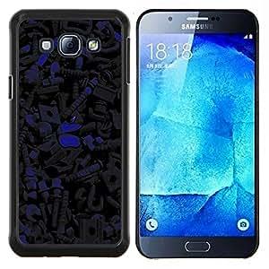 KLONGSHOP // Cubierta de piel con cierre a presión Shell trasero duro de goma Protección Caso - Patrón oscuro - Samsung Galaxy A8 A8000 //