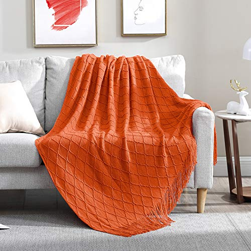 Walensee Throw Blanket for Couch, 100% Acrylic Knit Woven Blanket, Lightweight Decorative Soft Blanket with Tassels for Chair, Bed, Sofa, Travel, Suitable for All Seasons