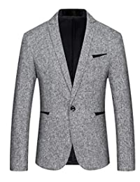 omniscient Men Blazer Jacket One Button Slim Fit Sport Coat
