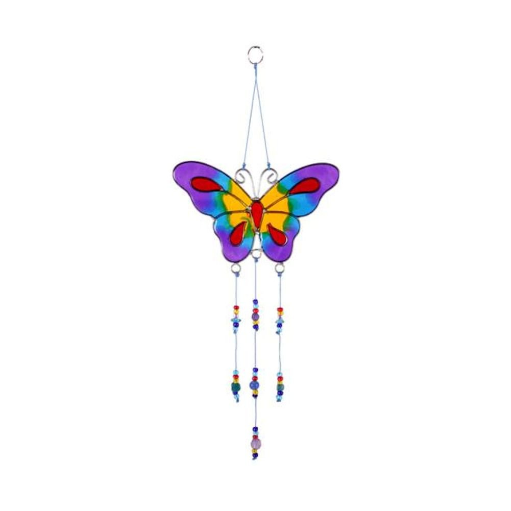 1 x Butterfly Suncatcher With Hanging Beads Stained Glass Effect Something Different