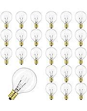 G40 reservelampen gloeilampen 25 stuks, G40 Globe gloeilamp, IP44 UL-vermeld waterdicht warm wit Edison stijl lampen voor snoer licht E12-fitting, 7 W, voor tuin, feest, bruiloft en Kerstmis.