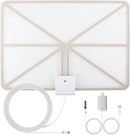 QcoQce Antena para TV Digital de TDT y HD par interior HDTV 50 Millas de Distancia alta definición y la versión mejorada del amplificador de se?al ...