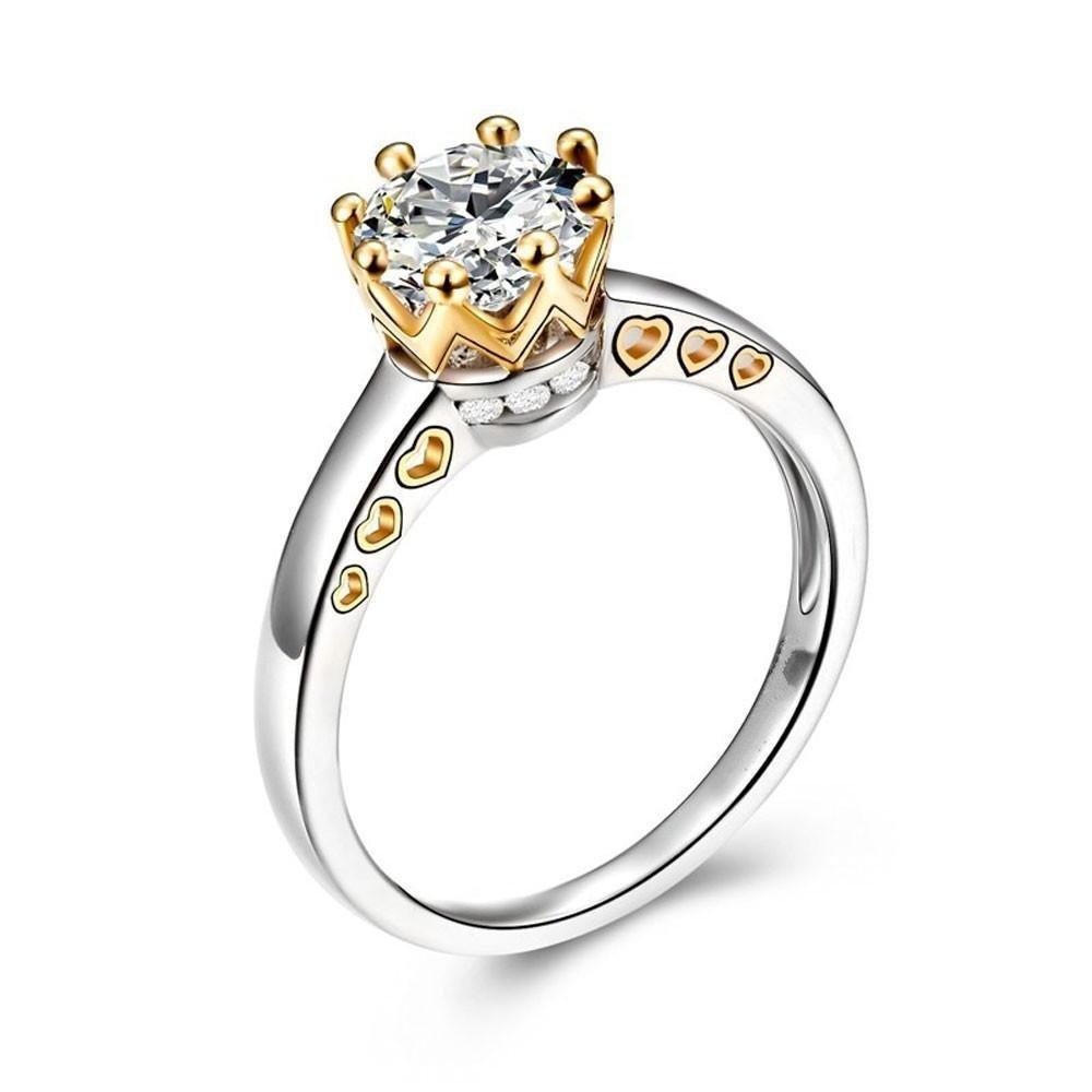 WensLTDクリアランス。2イン1レディースヴィンテージホワイトダイヤモンドシルバー婚約結婚指輪セット B078Y87FGN #7|シルバー-2 シルバー-2 #7