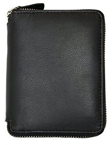 Metal Zip Around Black Great Quality Genuine Leather Wallet (Zipper-around) ()