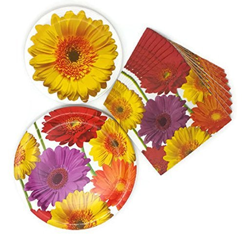 (Summer Paper Plates and Napkins Floral Gerbera Daisy Theme Bundle of 3, Service for 8)