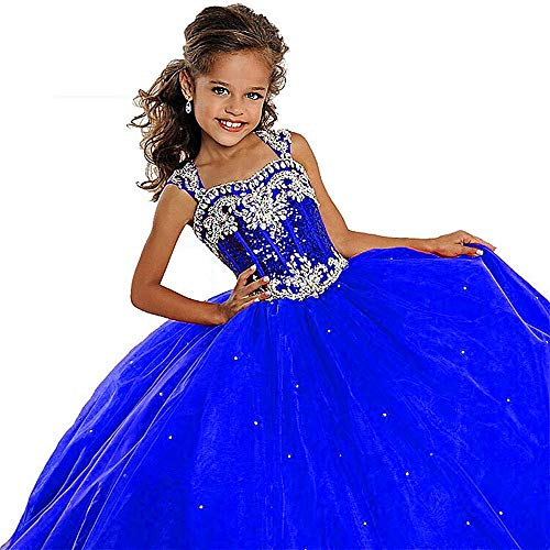 Leho Flower Girls' Sequins Ball Gowns Beaded Long Pageant Dresses 10 US Royal Blue ()