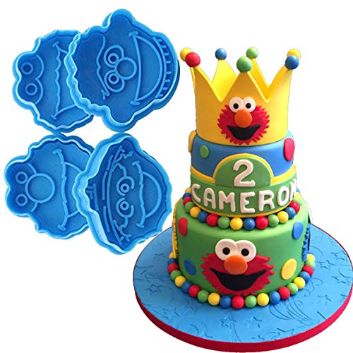 Anyana 4pcs set Sesame Street Oscar Ernie Elmo Monster fondant plunger Cookie Cutter biscuit decorating stamp stamper impression Sugarcraft Cake Decoration pastry pie crust -