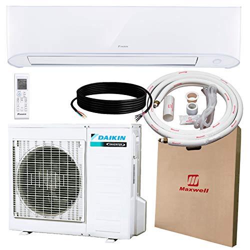 DAIKIN 12,000 BTU 17 SEER Wall-Mounted Ductless Mini-Split A/C Heat Pump System Maxwell 15-ft Installation Kit (230V) 10 Year Limited Warranty (12,000 BTU_208-230V)