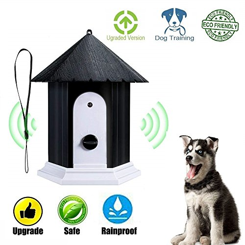 CY Outdoor Ultrasonic Dog Bark Controller No Barking House Anti-Barking Training Tool in Birdhouse Mode (Black) (Yc T Last The)