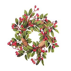 """Evanto Real Cotton Wreath - 14"""" Front Door Wreaths with Artificial Leaves and Berries for Home Decor, Wedding Centerpiece, Christmas, Thanksgiving, Rustic Farmhouse Decorations 3"""