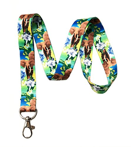 Wild Safari Themed Lanyard Key Chain Id Badge Holder (Elephant) -