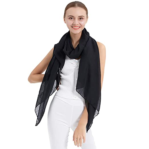 49256c0f3c30b LMVERNA Solid Color Scarfs For Women Cotton Muslim Hijab Scarf Large Shawls  And Wraps For Evening