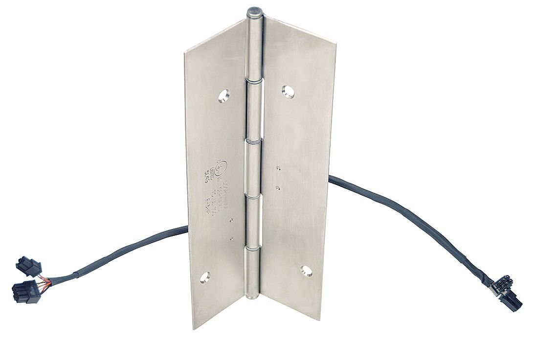 Markar - FM300 MB EL-12 MP-EMAP 83-1/8 - Electrified Hinge with Dull Stainless Steel Finish, Full Mortise Mounting, 20 Holes per Leaf