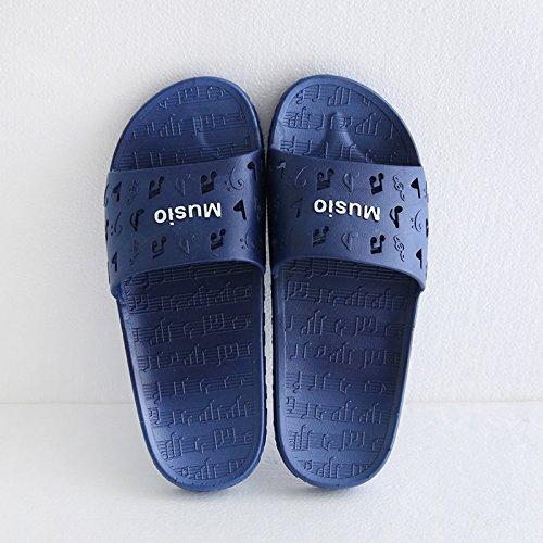 Inicio Interior y Zapatillas 42 Oscuro Azul de 41 Gruesa fankou Baño Exterior Música Adultos Cool Verano Viaje Zapatillas de Mujer v7SY0pq