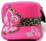 zoo york beanie hat - Rhinestone Fleur de Lis Leopard Print Vintage Cadet Hats Fashion - Hot Pink