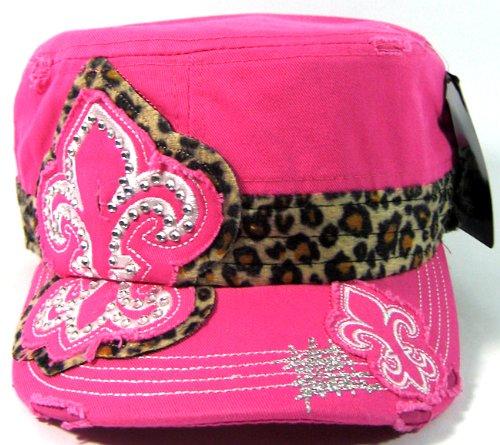 Rhinestone Fleur de Lis Leopard Print Vintage Cadet Hats Fashion - Hot - Fleur De Lis Syracuse