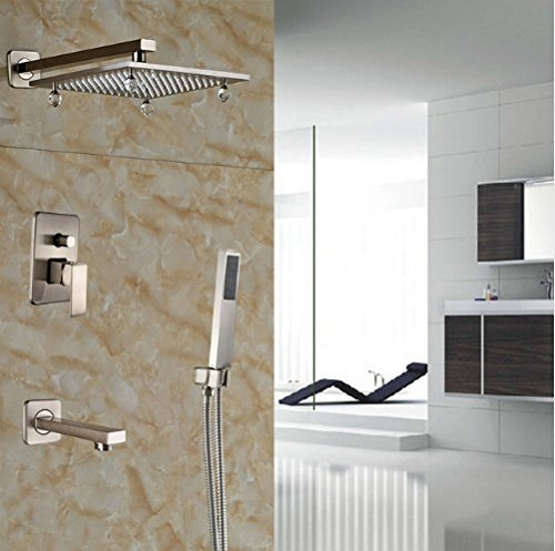 Nickel Crystal Lever - Gowe Bathtub Rainfall Shower Faucet Set Single Lever Brushed Nickel Shower W/Crystal Single Lever Mixer Tap