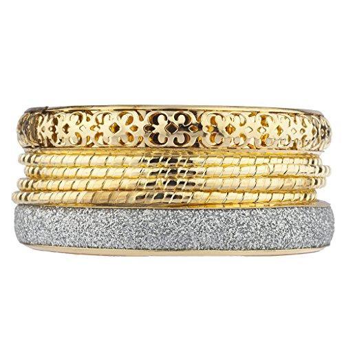 Lux Accessories Goldtone Filigree Sticker Glitter Assorted Bangle Bracelet Bracelets 6PC -