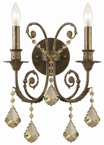 Crystorama Traditional 5-Light Pewter/Silver Shade Swarovski Crystal Mini Chandelier