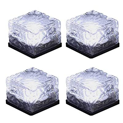 LED Ice Cube Lights,Solar Glass Brick Light,LED Landscape Light Buried Light Square Cube,Frosted Glass Light for Outdoor Path Road Yard Christmas 4 pcs