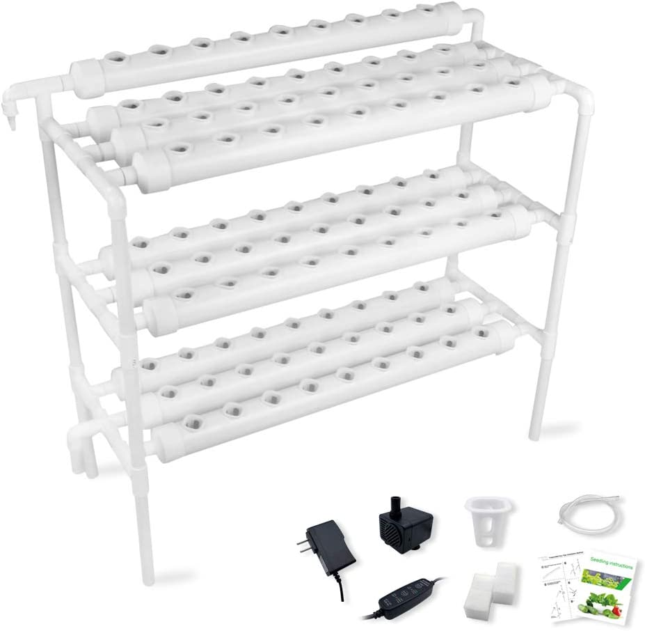 Hydroponic Growing System Gardening Grow Salad Kit, 90 Plant Holes 3 Layers 10 PVC Pipe with Pump, Timer, Sponge, Net Pot, Tutorials for Vegetable Soilless Cultivation with Fertilizer
