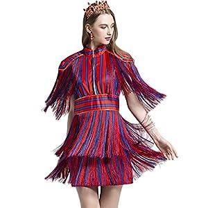 whoinshop Women's High Neck Short Sleeve Tassel Stripe Club Party Bodycon Mini Dress